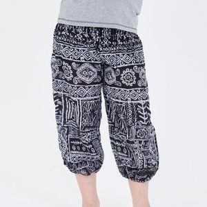 Tribal Prints Kids Harem Pants in Black